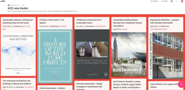 ACE new books padlet