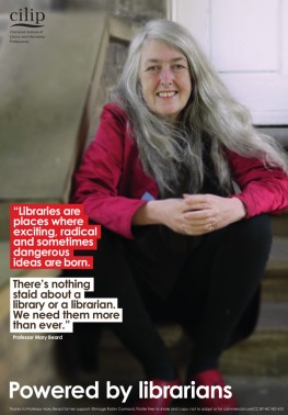 Mary Beard and CILIP poster