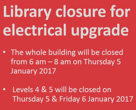 Library closure for electrical upgrade
