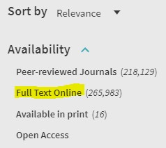 Filter your catalogue results to display 'Full Text Online' results only