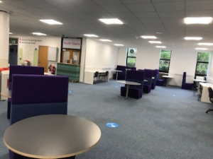 Library L2 study spaces at 2 metre social distancing